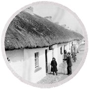 Fishermans Cottages In Claddagh Ireland Round Beach Towel