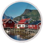 Fishermen's Houses Round Beach Towel