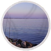 Fishing At Dusk Round Beach Towel