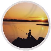 Fishing At Sunset, Roaring Water Bay Round Beach Towel