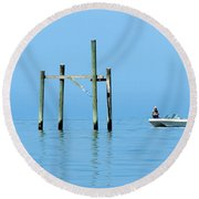 Fishing At The Bird Rack Round Beach Towel