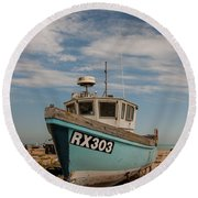 Fishing Boat Round Beach Towel