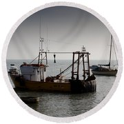 Fishing Boat Essex Round Beach Towel