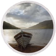 Fishing Boat Moored On Lough Nafooey Round Beach Towel