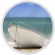 Fishing Boat On The Beach Round Beach Towel