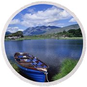 Fishing Boat On Upper Lake, Killarney Round Beach Towel