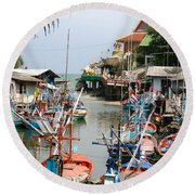Fishing Boats Round Beach Towel by Adrian Evans