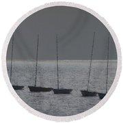 Fishing Boats Art Round Beach Towel