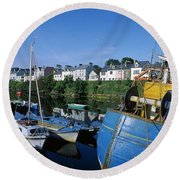 Fishing Boats At A Harbor, Roundstone Round Beach Towel
