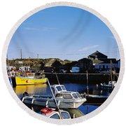 Fishing Boats At A Harbor, Slade Round Beach Towel
