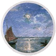 Fishing Boats By Moonlight Round Beach Towel
