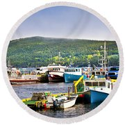 Fishing Boats In Newfoundland Round Beach Towel