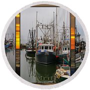 Fishing Boats In Steveston Group Photo Round Beach Towel