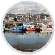 Fishing Boats In The Harbor Round Beach Towel