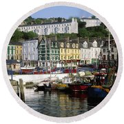 Fishing Boats Moored At A Harbor, Cobh Round Beach Towel