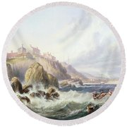 Fishing Boats Off Scotland Round Beach Towel