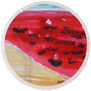 Fishing Boats On A Red Sea Round Beach Towel