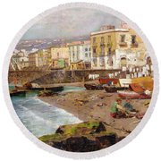 Fishing Boats On The Beach At Marinella Naples Round Beach Towel