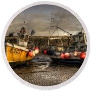 Fishing Boats On The Cobb Round Beach Towel