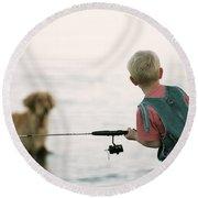 Fishing Boy Round Beach Towel