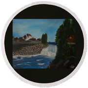 Fishing By The Falls Round Beach Towel