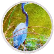 Fishing In The Reeds Round Beach Towel