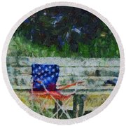Fishing On Memorial Day Round Beach Towel