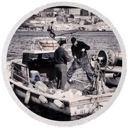 Fishing On The Golden Horn Round Beach Towel