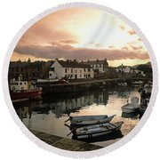 Fishing Village In Ireland Round Beach Towel