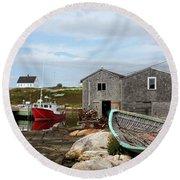 Fishing Village In Nova Scotia Round Beach Towel