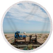 Fishing Winches Round Beach Towel