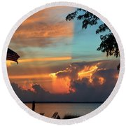 Fitting Sunset Round Beach Towel