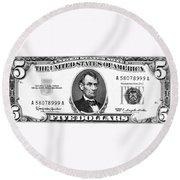 Five Dollar Bill Round Beach Towel