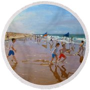 Flags And Reflections Round Beach Towel