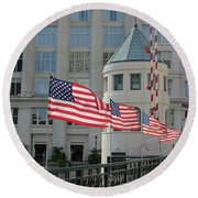 Flags On The Avenue Round Beach Towel