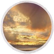 Flagstaff Fire Sky Boulder Colorado Round Beach Towel