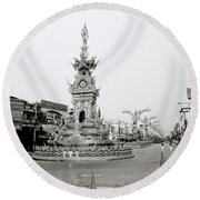 Flamboyant Clock Tower Round Beach Towel