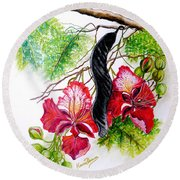 Flamboyant Round Beach Towel