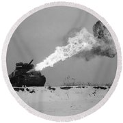 Flame-throwing Tank Round Beach Towel
