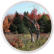 Flames Of Autumn Round Beach Towel