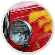 Flaming Hot Rod 2 Round Beach Towel
