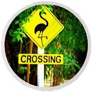 Flamingo Crossing Round Beach Towel