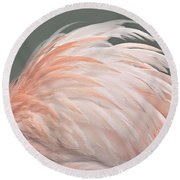 Flamingo Feather Details Round Beach Towel