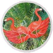 Flamingo Mask 4 Round Beach Towel