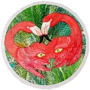 Flamingo Mask 7 Round Beach Towel