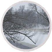 Flat River In Winter No.026 Round Beach Towel