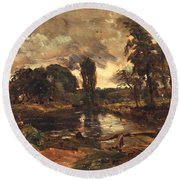 Flatford Mill From The Lock Round Beach Towel