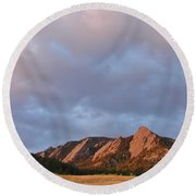 Flatirons At Chautauqua In Early Morning Round Beach Towel