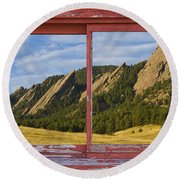 Flatirons Boulder Colorado Red Barn Picture Window Frame Photos  Round Beach Towel