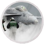 Flight Deck Personnel Are Surrounded Round Beach Towel by Stocktrek Images